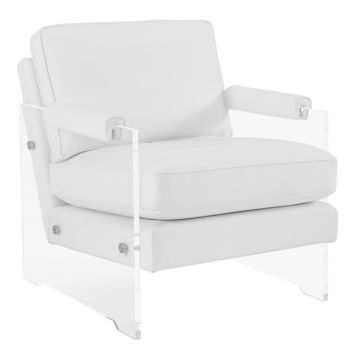 TOV Furniture Serena White Eco Leather/Lucite Chair