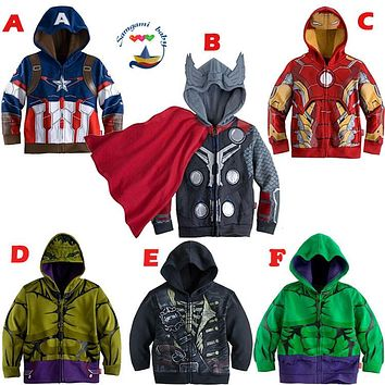 children boys hulk Captain America, Iron Man the new coat Kids Hoodie Clothing Slim Outwear Braid Childs Cosplay Tops Jackets