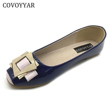 COVOYYAR 2017 Buckle Women Flats Spring Autumn Patent Leather Women Shoes Square Toe L