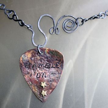 Ramble On Metal Guitar Pick Pendant with Steel Wire Necklace