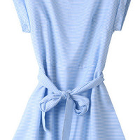 Blue Striped Short Sleeve Mini Dress with Belt