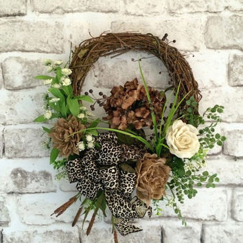 Burlap Floral Wreath, Front Door Wreath, Spring Wreath, Silk Floral Wreath, Outdoor Wreath, Grapevine Wreath, Leopard, January Wreath, Etsy