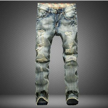 ripped men jeans frayed male destroyed Slim biker jeanscasual skinny holesdenim pants washed yellow color swag overalls trousers