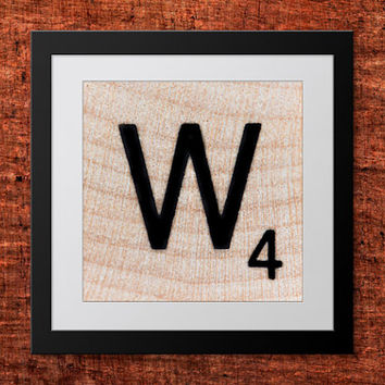 DIY Wall Art, Letter W-Personalized Word Art, Instant Download, Printable Letter, Scrabble Wall Art, Alphabet Art, Downloadable Image, Print