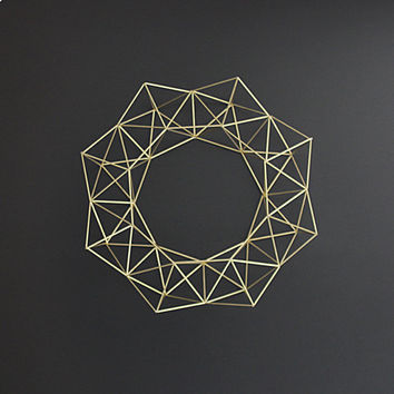 Large Brass Himmeli Wreath / Geometric Wall Sculpture