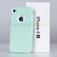 NEW Palegreen Cute Glossy Soft TPU Gel Case Cover Skin For iPhone 4S 4G 4
