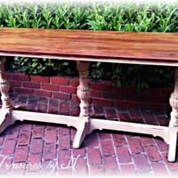 Antique shabby chic sofa table, entry table, rustic table, distressed white buffet, distressed entry table, farmhouse table, sofa table
