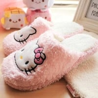 2016 New Hello Kitty Sandals Women Winter Spring thin light home slippers house Plush shoes
