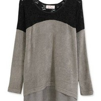 # Free Shipping # Grey Ladies Lace and Cotton Top One Size WO60519g from ViwaFashion