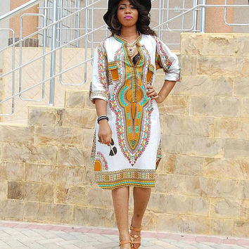 African Women Clothing White Dashiki Dress Succunct African Tr itional Print V Neck Dashiki Dress For Women SM6