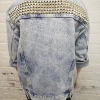 Vintage grunge acid wash studded denim jacket from ChasingTheDime