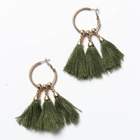 Triple Tassel Hoops - Olive Green
