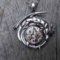 Reserved for LBL: Clockpunk Fantasy Pendant Necklace  - Dragon Pendant w/Petite silver Watch Movement on Silver Cable Link Chain