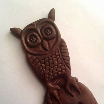 Women Hair Accessories,Wooden hair fork Owl,Handmade, Hair accessory,Owl wood carved