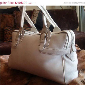 SALE SALVATORE FERRAGAMO Handbag Large White Leather Satchel