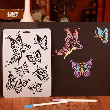 Reusable Stencil Airbrush Painting Art DIY Home Decor Scrapbooking Album Craft Flower Layering Stencils Coffee Cake Mold