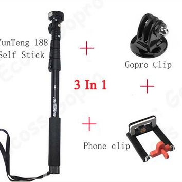 Top Quality YunTeng 188 Portable Handheld Telescopic Monopod Tripod For Cameras Cell Phones With Holder