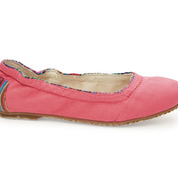 TOMS Rose Canvas and Woven Youth Ballet Flats Pink