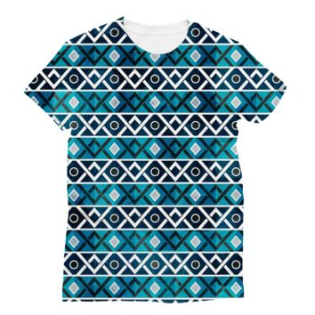 Blue and Teal Diamond Pattern AWDis Sublimation T-Shirt