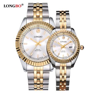 Luxury Lovers Couple Watches Men Date Day Waterproof Women Gold Stainless Steel Quartz Wristwatch