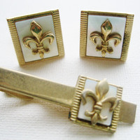 Fleur de lis Cufflinks Vintage Mother of Pearl Cuff Links with Matching Tie Pin Men's Accessories Tie Accessories Vintage Cuff Links