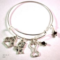 Puppy Love Bangle Bracelet with Charms and Swarovski Crystals