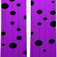 Asymetric dots and lines pattern knee high socks, stylish purple color clothing