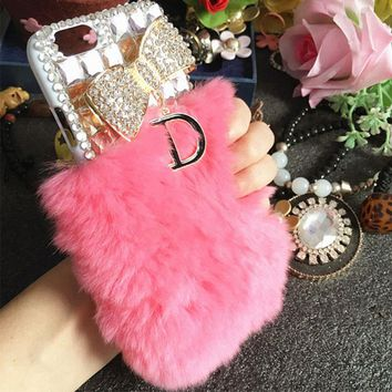 XINGDUO For iphone 7 case Bling Bow diamond cover case pink Rabbit Fur Hair phone case for iphone 6/6S/7/7 Plus/8/8 Plus/X