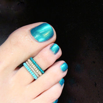 Turquoise - Silver - Light Pink- Stretch Bead Toe Ring