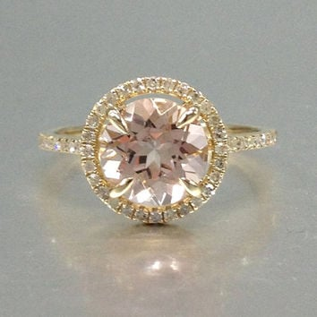 8mm Morganite Engagement ring Yellow gold,Diamond wedding band,14k,Round Cut,Gemstone Promise Bridal Ring,Claw Prongs,Pave Set,Handmade