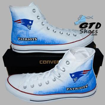 Hand Painted Converse Hi. New England Patriots, Football. Sports. Handpainted Shoes. O