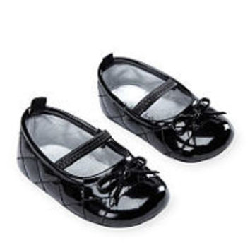 Koala Baby Girls Black Quilted Toe Cap Soft Sole Mary Janes with Bow Detail