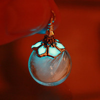 White Feather in Glass Bubble Pendant GLOW in the DARK