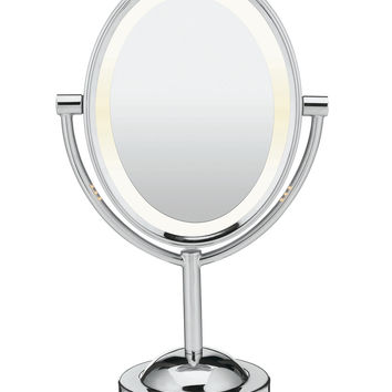 Conair Oval Polished Chrome Double-Sided Lighted Makeup Mirror | macys.com