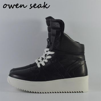 Owen Seak Men Shoes Genuine Leather High-TOP Ankle Boots Luxury Trainers Boots Casual Lace-up Flats Shoes Black Big Size