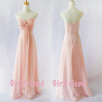 Elegant Pink Chiffon Prom Dress, Floor-length Homecoming Dress