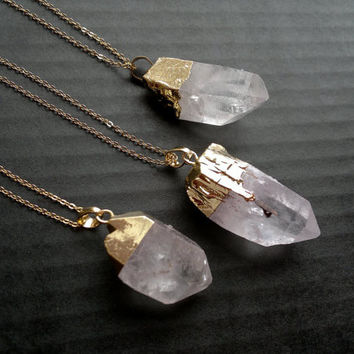 Quartz Crystal Necklace Raw Quartz Crystal Pendant Gold Dipped Quartz Crystal Clear Quartz Chunky Rough Crystal Point Mineral Jewelry