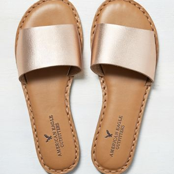 AEO Wide Band Sandal , Rose Gold | American Eagle Outfitters