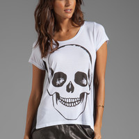 Lauren Moshi Betty Skull Face Color Block Open Back Tee in White/Black from REVOLVEclothing.com