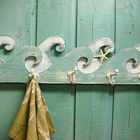Waves Coat Rack Hook Rack Sign Wall Beach House Decor