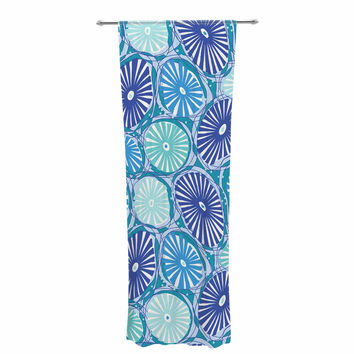 "Jacqueline Milton ""Sea Coral - Blue"" Blue Aqua Decorative Sheer Curtain"