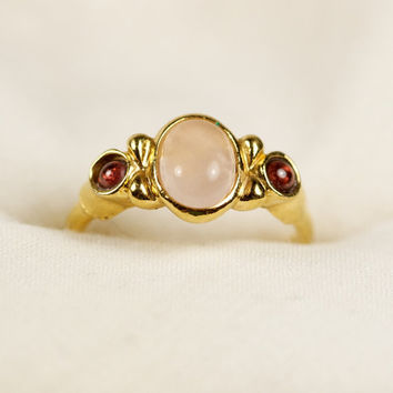 Vintage Rose Quartz and Garnet Avon ring by TwiceBakedVintage
