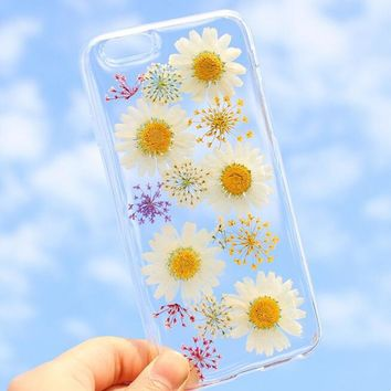 summer vibe chrysanthemum case 100 handmade dried flowers cover for iphone 7 7plus iphone 6 6s plus gift box b61  number 1