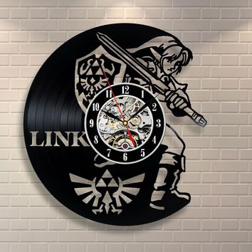 New Wall Clock Saat Legend of Zelda Handmade Watch Black