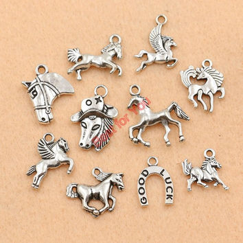 10pcs Mixed Tibetan Silver Plated Animals Horse Charms Pendants Jewelry Making Diy Handmade Crafts c027