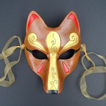 Brown and Gold Kitsune MaskHandmade Leather Japanese by Merimask