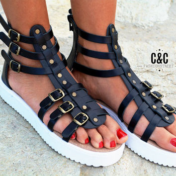 "Women Leather Sandal Gladiator ""wild edition"", strappy sandals, genuine leather, black sandals, Gladiator Sandals, women sandals"