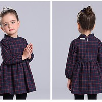 Autumn Plaid Dress With Long Sleeves-2 Colors