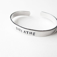 Breathe bracelet hand stamped metal cuff yoga by WyomingCreative