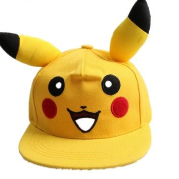 Lovely Pokemon GO Pikachu Flat Snapback Caps Hat for Men Women child cap